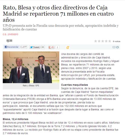 El Plural - Rato, Blesa y otros diez directivos de Caja Madrid se repartieron 71 millones en cuatro años