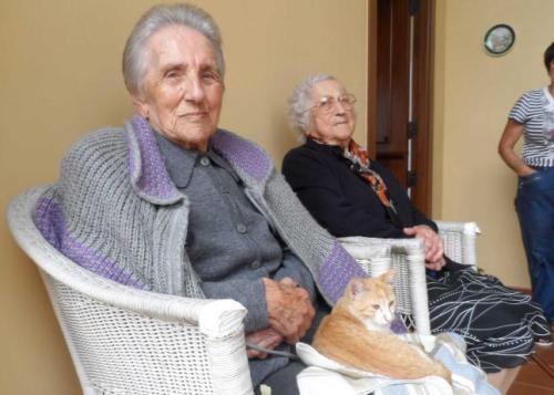 Las protagonistas. Por la izquierda, Gloria Rodiles, con su gata «Chispitas», y Pilar Fernández. (Foto LNE)