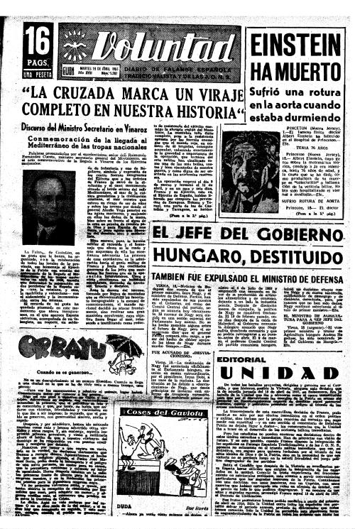 Hace 60 años. Primera plana de VOLUNTAD del 19 de abril de 1955. Aquel año era martes.