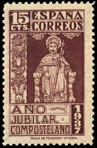 Sello 15 cts. Año Jubliar Compostelano 1937