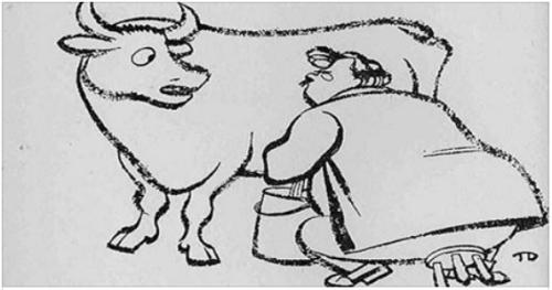 G.K. Chesterton ordeñando vaca