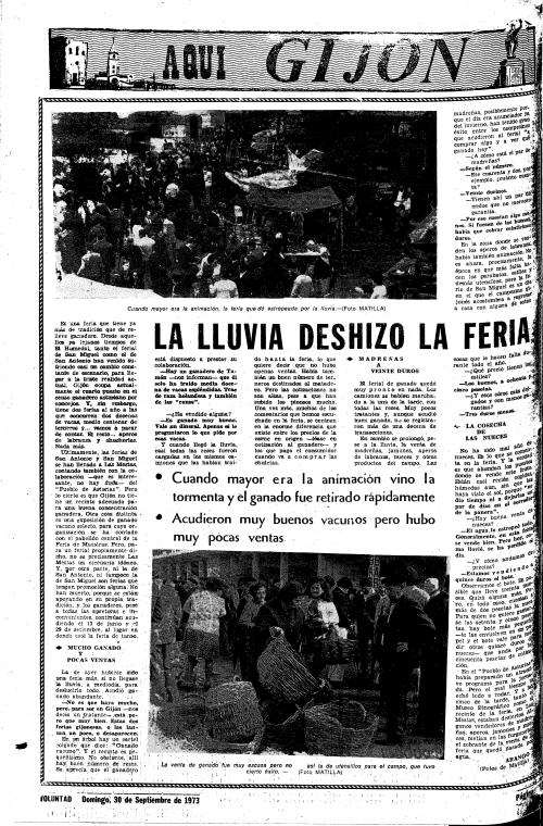1973, último año en que VOLUNTAD informó sobre la Feria de San Miguel al día siguiente, 30 de septiembre. En 1974 el día 30 correspondia a la Hoja del Lunes; en 1975 este periódico desaparecería, víctima de los manejos de Emilio Romero en la «Transición».