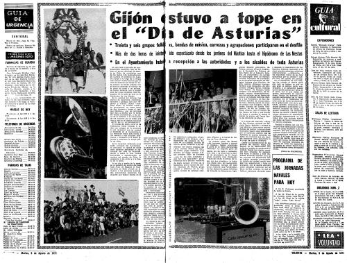 El único Día de Asturias en Gijón es el de las carrozas, tradicional festejo veraniego de esta villa, el primer domingo de agosto. En 1975 cayó el día 3. Reportaje de VOLUNTAD publicado el martes 5 de agosto de aquel año.