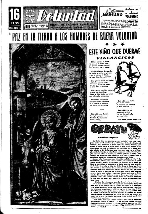 Hace sesenta años: primera plana de VOLUNTAD, 24 de diciembre de 1955. (Pulsar sobre la imagen para ampliarla).