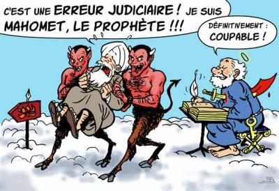 — ¡Es un error judicial! ¡Yo soy Mahoma, el Profeta! — [San Pedro, atravesado por un alfanje moro.] Definitivamente, ¡culpable! [Caricatura de Steph Bergol]