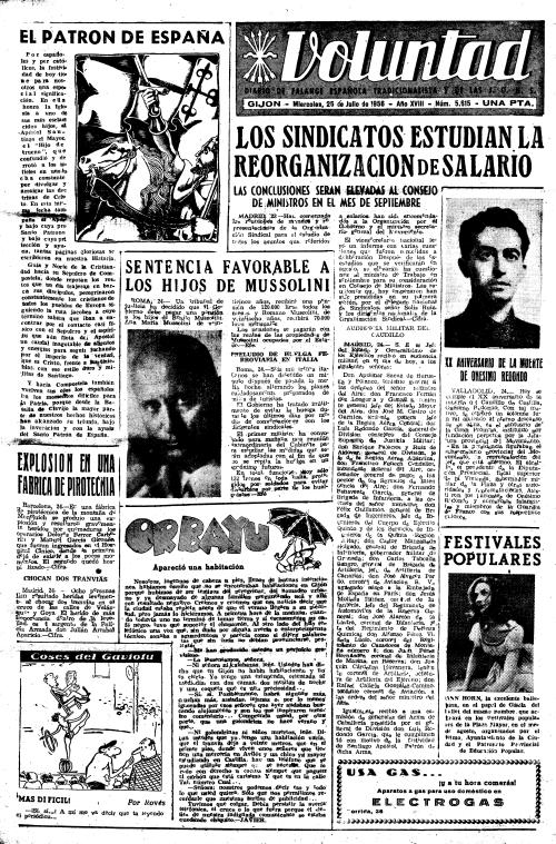 Primera plana de VOLUNTAD en la fiesta de Santiago Apóstol de 1956. Clic sobre la imagen para ampliarla