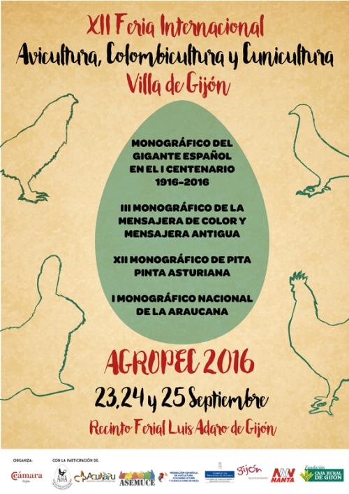 Como este año no parecen haberse molestado en hacer cartel ad hoc (el que aparece en algún sitio es el del año pasado, con las fechas de éste) ponemos el de la Feria Internacional de Avicultura, Colombicultura y Cunicultura «Villa de Gijón» que se celebra dentro de AGROPEC