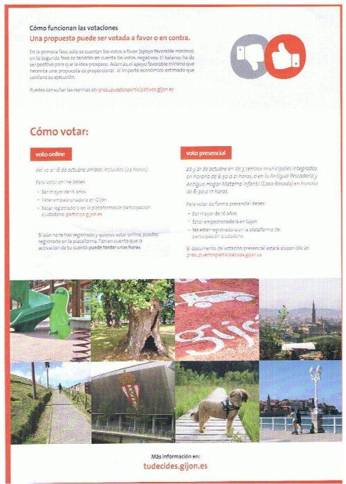 Reverso de la hoja buzoneada por el Ayuntamiento de Gijón hoy 18 de octubre de 2016. «Voto online: del 10 al 18 de octubre ambos incluidos»