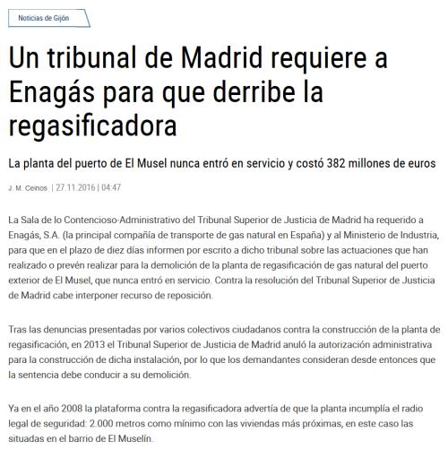 Un tribunal de Madrid requiere a Enagás