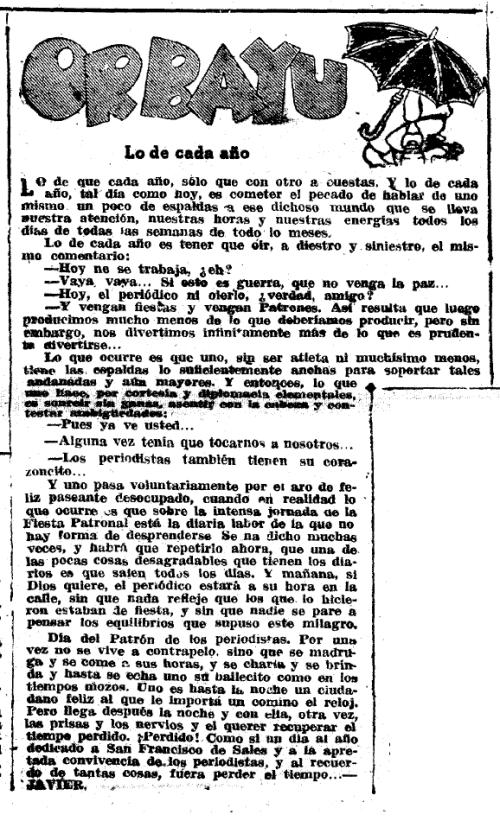 VOLUNTAD, Gijón, martes 29 de enero de 1957